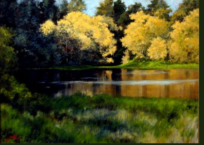 Landscape Greeting Card featuring the painting Nature Walk by Jim Gola