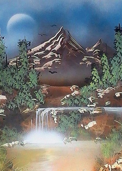 Spray Paint Greeting Card featuring the painting Natures Beauty by My Imagination Gallery