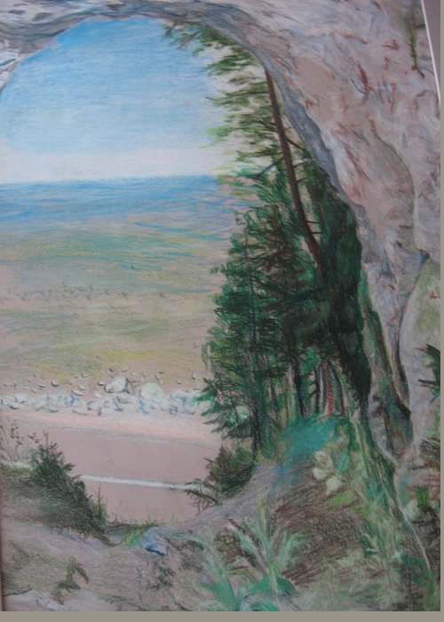 Rock Greeting Card featuring the drawing Natures Frame by Matthew Handy