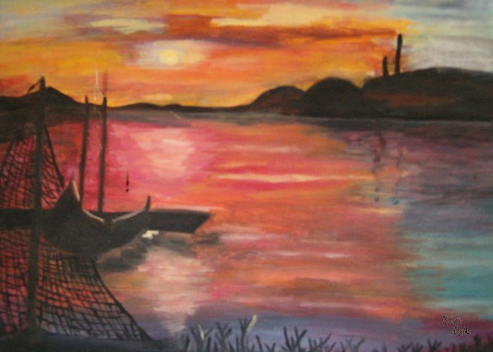 Seascape Greeting Card featuring the painting Natures Glory by Mikki Alhart
