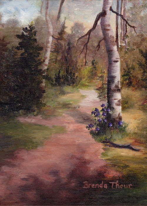 Landscape Greeting Card featuring the painting Natures' Trail by Brenda Thour