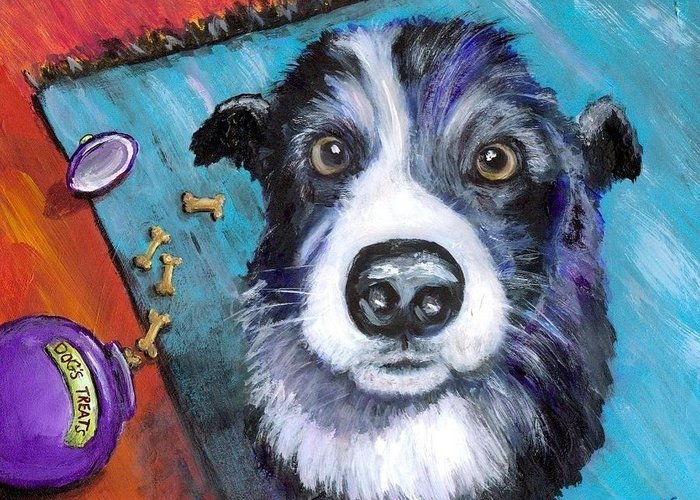 Border Collie Greeting Card featuring the painting Naughty Border Collie by Dottie Dracos