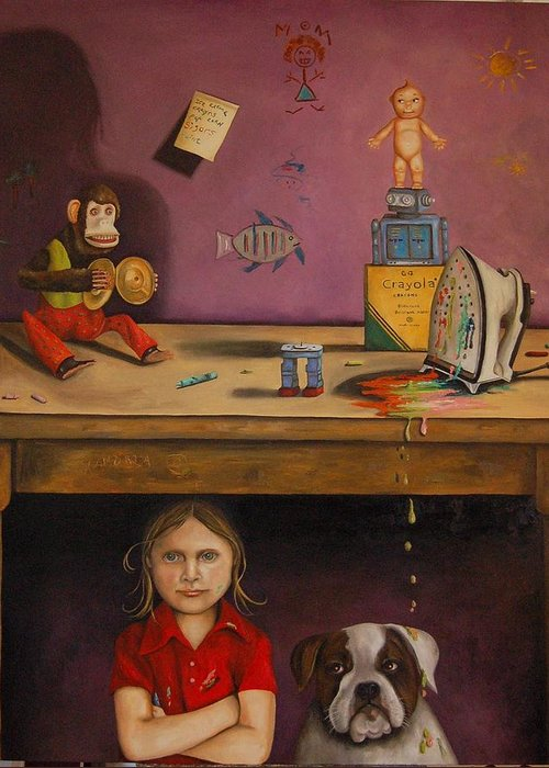 Monkey Greeting Card featuring the painting Naughty Child by Leah Saulnier The Painting Maniac