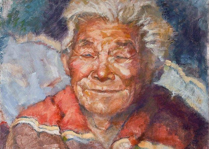 Elder Greeting Card featuring the painting Navaho Wisdom by Ellen Dreibelbis