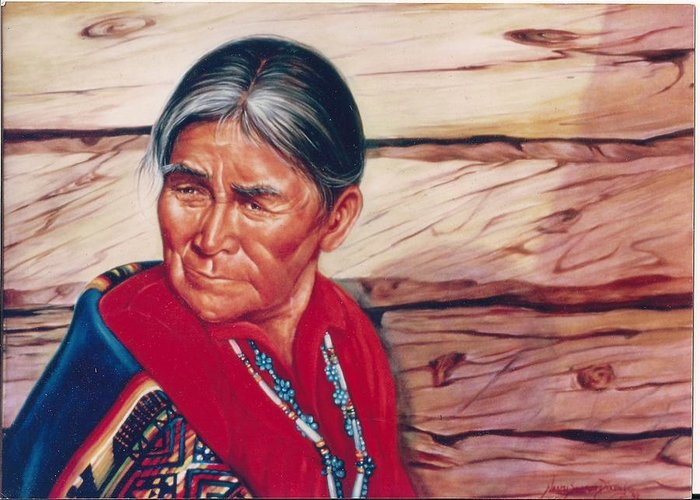 Native American Greeting Card featuring the painting Navajo Woman by Naomi Dixon