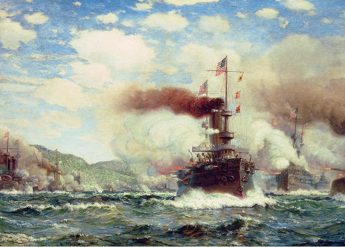 Naval Battle Explosion (oil On Canvas) Battleship; Sea Battle; Ship; Ships; Firing; Exploding; Fire; Canon; Smoke; Warship; War; Conflict; Warfare; Coast Greeting Card featuring the painting Naval Battle Explosion by James Gale Tyler