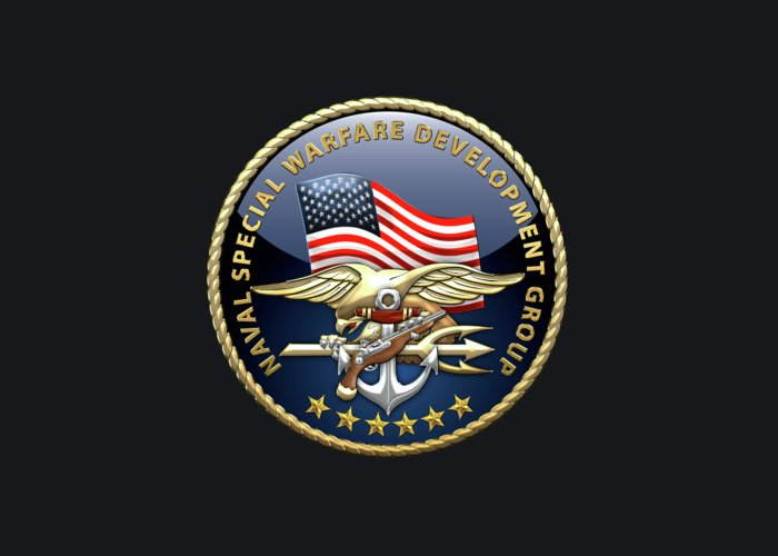 'military Insignia & Heraldry - Nswc' Collection By Serge Averbukh Greeting Card featuring the digital art Naval Special Warfare Development Group - DEVGRU - Emblem on Black by Serge Averbukh