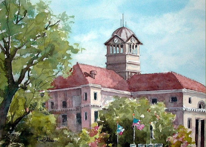 Landscape Greeting Card featuring the painting Navarro County Courthouse by Tina Bohlman