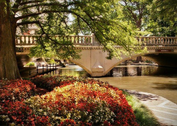 Riverwalk Greeting Card featuring the photograph Navarro Street Bridge by Steven Sparks