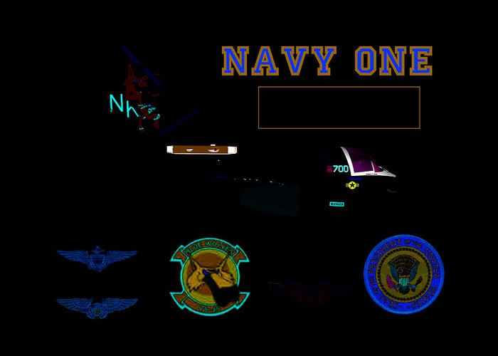 Aviation Greeting Card featuring the digital art Navy One by Mike Ray