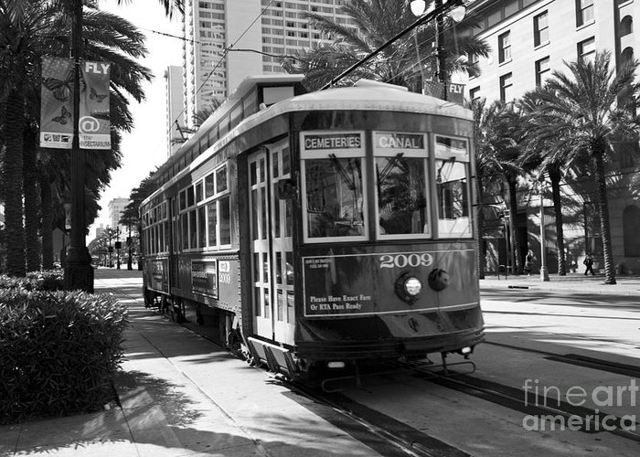 Canal Street Car Greeting Card featuring the photograph Nawlins by Leslie Leda