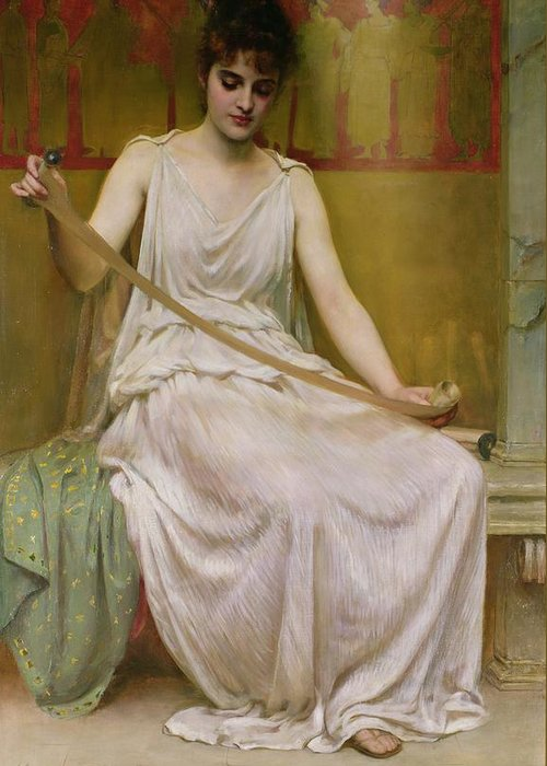 Neaera Greeting Card featuring the painting Neaera Reading A Letter From Catullus by Henry John Hudson