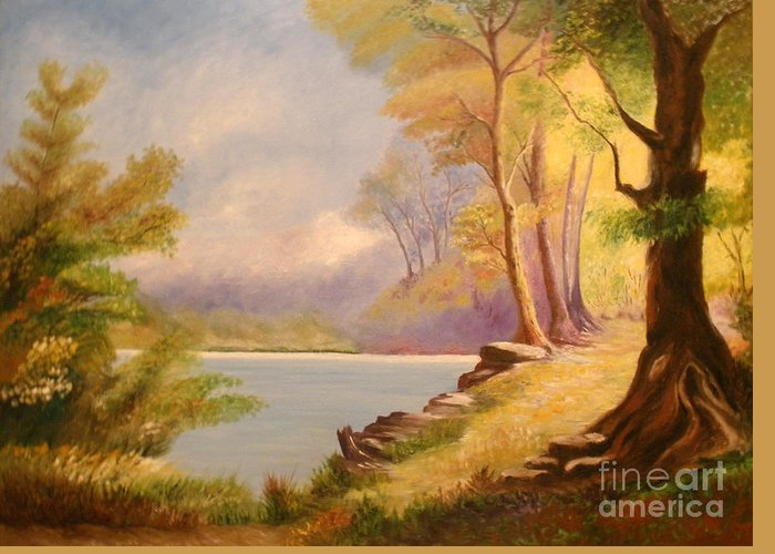 Forest Greeting Card featuring the painting Near The Lake by Cilinha