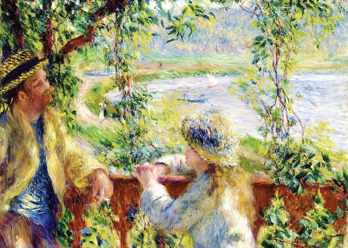 Scenery Greeting Card featuring the painting Near The Lake by Pg Reproductions