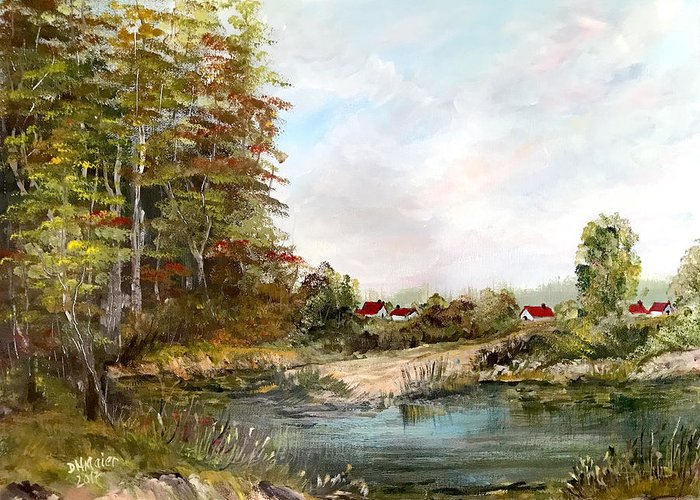 Pond Greeting Card featuring the painting Near The Pond by Dorothy Maier