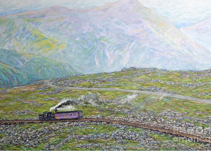 Train Greeting Card featuring the painting Near The Top by Gary Symington