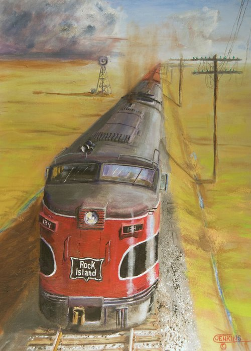 Train Greeting Card featuring the painting Near Thistle Ks by Christopher Jenkins
