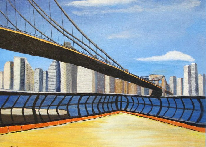Greeting Card featuring the painting Neath The Brooklyn Bridge by Rich Fotia