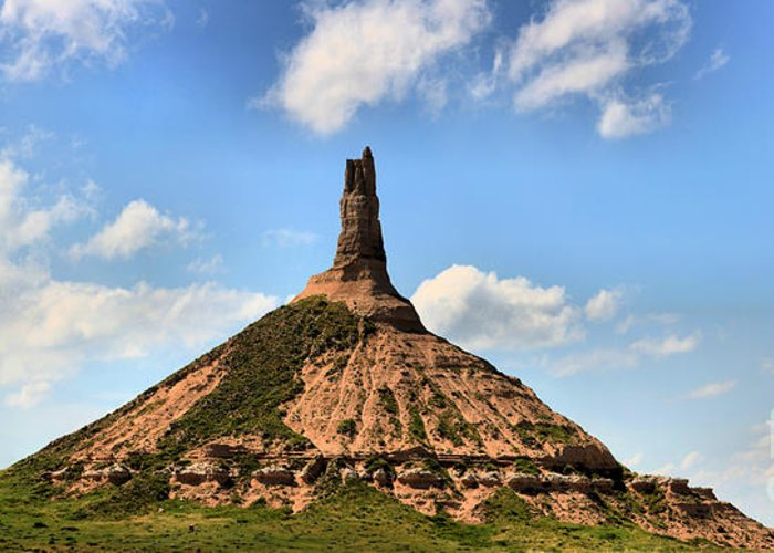 Scotts Bluff Chimney Rock Greeting Card featuring the photograph Nebraska Chimney Rock Panorama by Adam Jewell