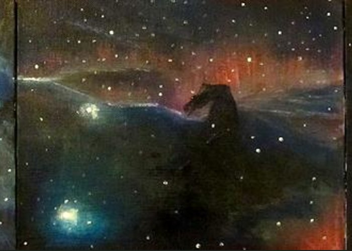 Space Greeting Card featuring the painting Nebula Triptych by Alizey Khan