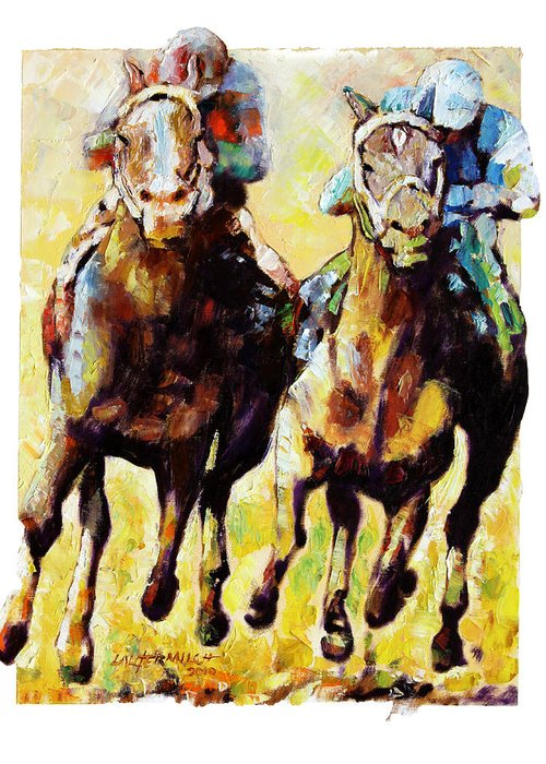 Horse Race Greeting Card featuring the painting Neck and Neck by John Lautermilch