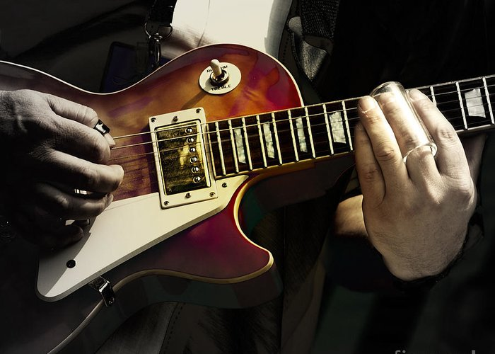 Guitar Greeting Card featuring the photograph Necking The Blues by Steven Digman