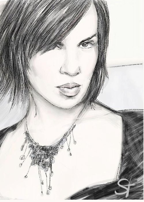 Portrait Greeting Card featuring the digital art Necklace by Scott Waters