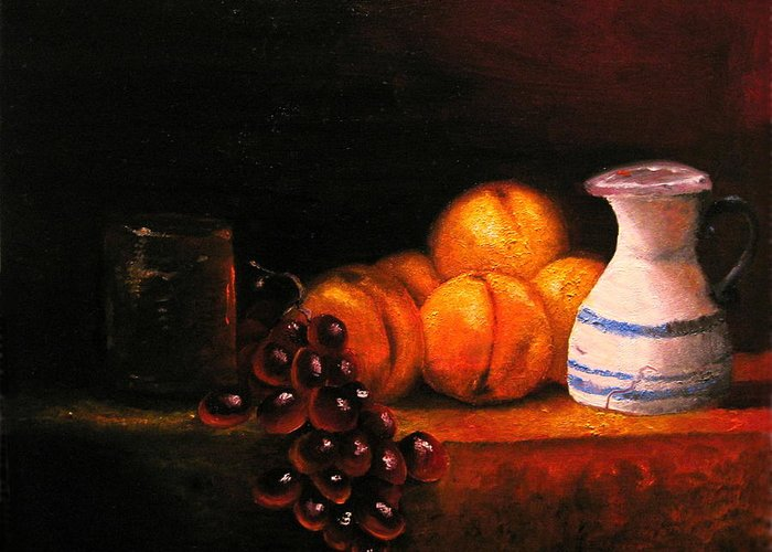 Still Life Greeting Card featuring the painting Nectarines With Grapes by Chris Haugen