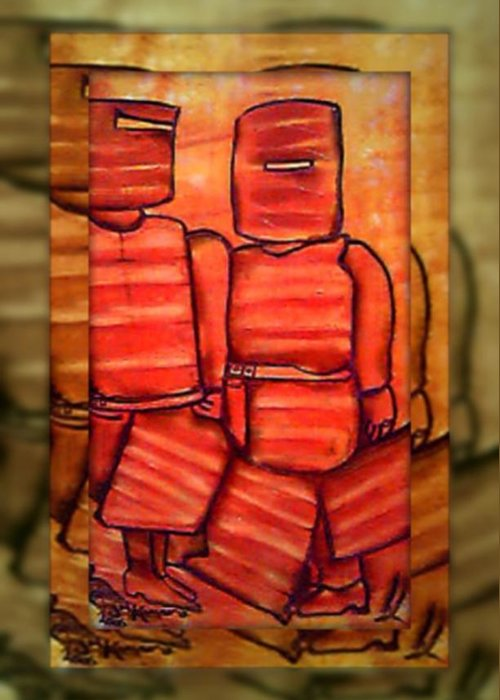 Figures Greeting Card featuring the digital art Ned Kelly Gang Art - Sunset Killers by Joan Kamaru