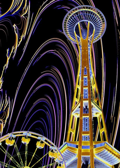 Seattle Greeting Card featuring the photograph Needle And The Firefly by Tim Allen