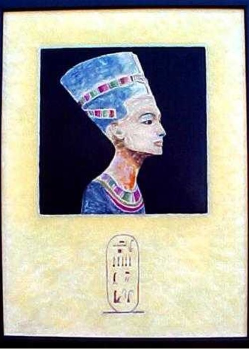 Encaustic Greeting Card featuring the painting Nefertiti The Beautiful One by Jackie Dunford