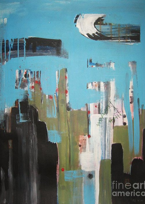 Abstract Paintings Greeting Card featuring the painting Neglected Area by Seon-Jeong Kim