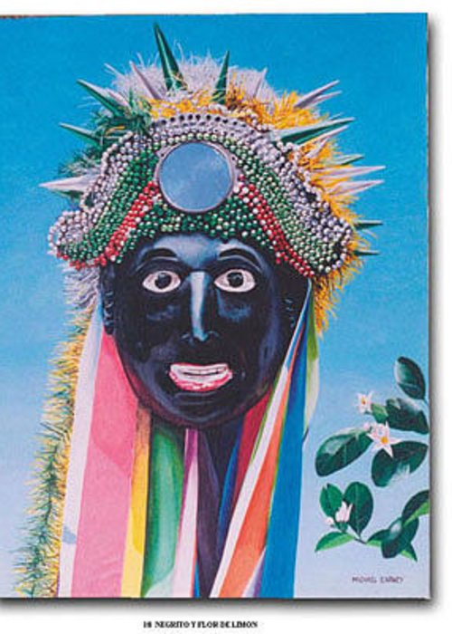 Michael Earney Greeting Card featuring the painting Negrito Y Flor De Limon by Michael Earney