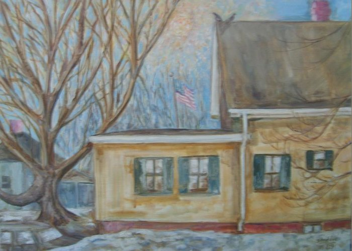 Landscape House Sun Birds Snow Greeting Card featuring the painting Neighbor House Yellow by Joseph Sandora Jr