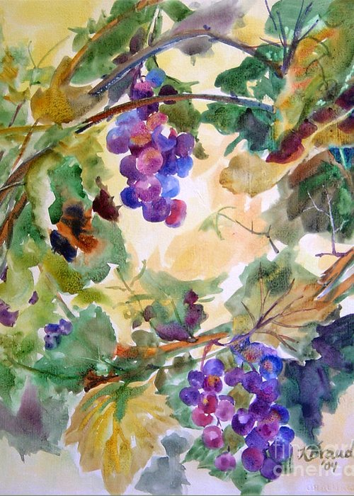 Paintings Greeting Card featuring the painting Neighborhood Grapevine by Kathy Braud