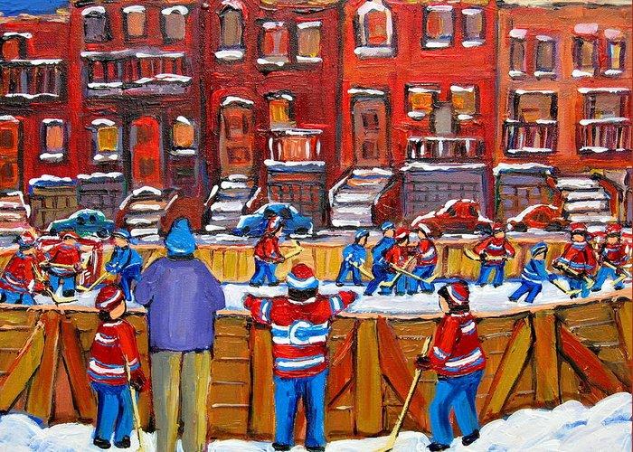 Hockeygame At The Neighborhood Rink Greeting Card featuring the painting Neighborhood Hockey Rink by Carole Spandau