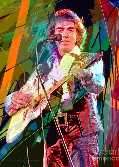 Neil Diamond Greeting Card featuring the painting Neil Diamond Hot August Night by David Lloyd Glover
