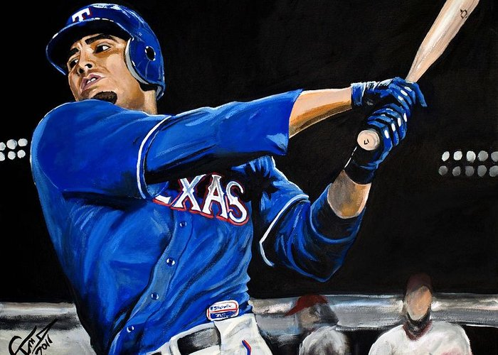 Nelson Cruz Greeting Card featuring the painting Nelson Cruz by Tom Carlton