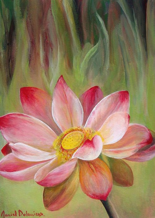 Flower Greeting Card featuring the painting Nenuphar by Muriel Dolemieux