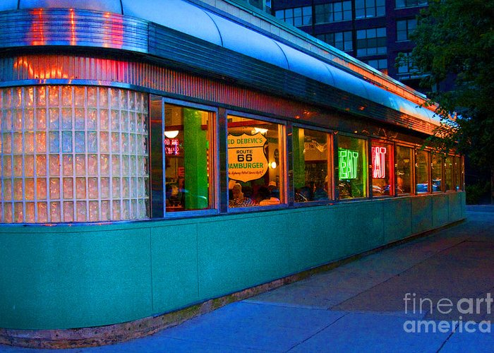 Chicago Greeting Card featuring the photograph Neon Diner by Crystal Nederman