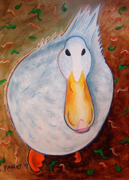 Animals Greeting Card featuring the painting Neon Duck by Scott Plaster