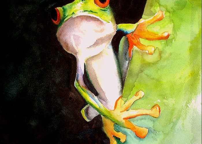 Frog Greeting Card featuring the painting Neon Frog by Rhonda Hancock