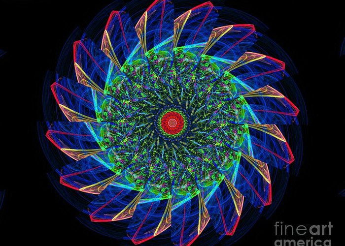 Colorful Greeting Card featuring the digital art Neon Motion by Bobby Hammerstone