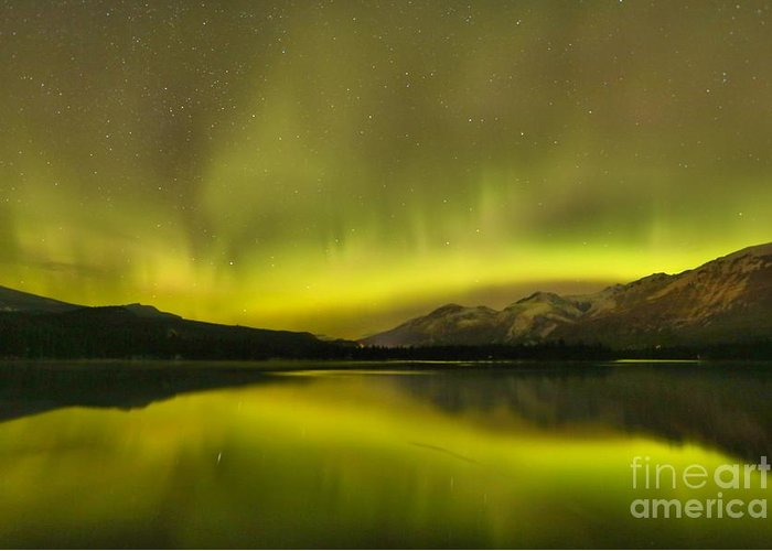 Canadian Northern Lights Greeting Card featuring the photograph Neon Night Lights by Adam Jewell