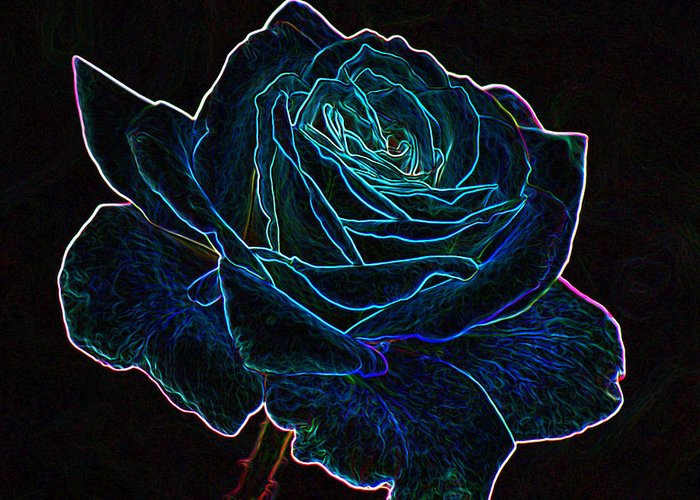Flowers Greeting Card featuring the mixed media Neon Rose 3 by Ernie Echols