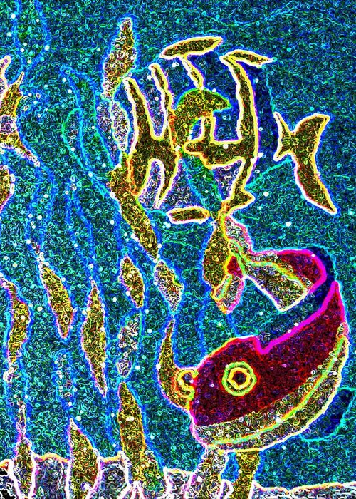 Sea.ocean.water Greeting Card featuring the digital art Neon Sea by Jeanette Lindblad