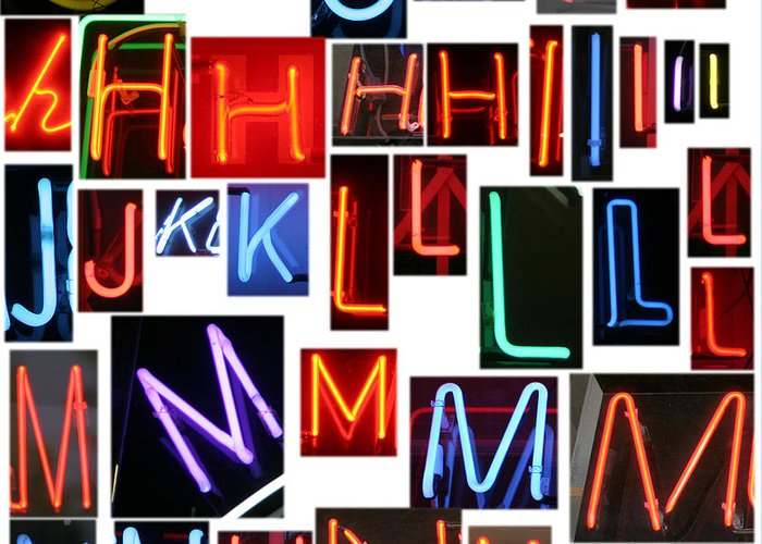 10th Framed Prints Greeting Card featuring the photograph neon series G through N by Michael Ledray