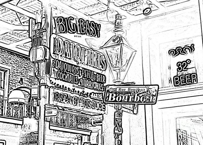 Travelpixpro New Orleans Greeting Card featuring the digital art Neon Sign On Bourbon Street Corner French Quarter New Orleans Black And White Photocopy Digital Art by Shawn O'Brien