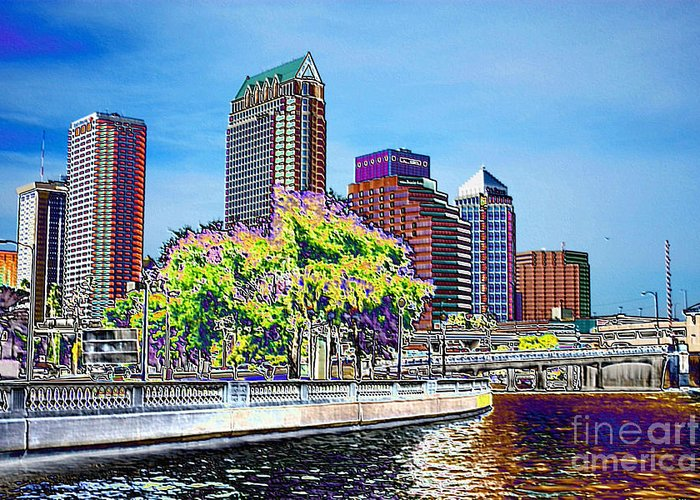 Tampa Greeting Card featuring the photograph Neon Tampa by Carol Groenen