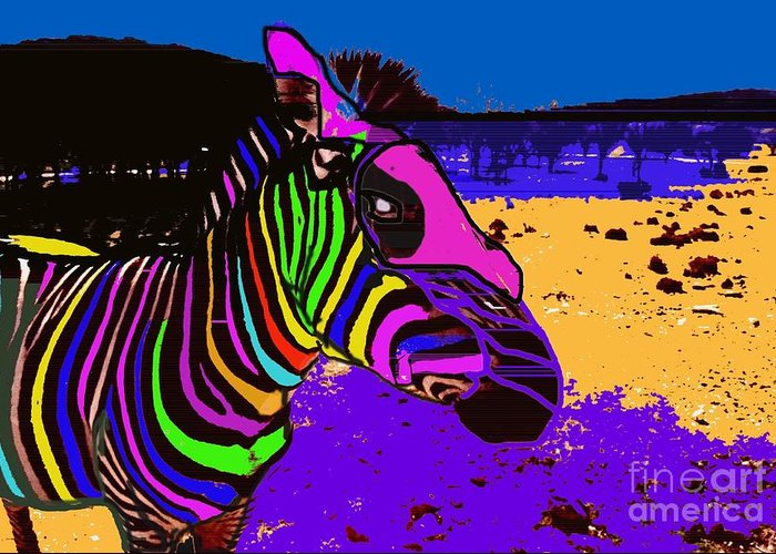 Zebra Greeting Card featuring the photograph Neon Zebra by David Carter